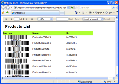 How to add Barcode in Local Reports (RDLC) before report