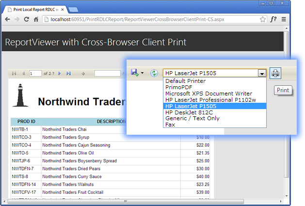 How to add Cross-Browser Printing to ASP NET ReportViewer toolbar