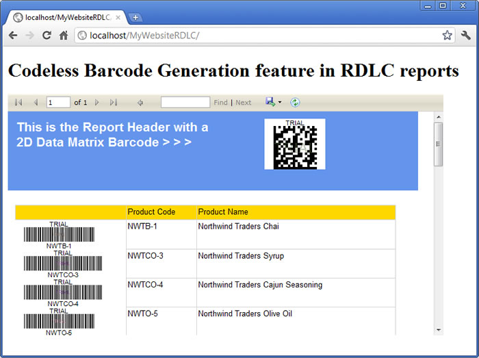 The sample RDLC report displaying a 2D DataMatrix as well as Code 39 barcodes for Northwind DB sample products
