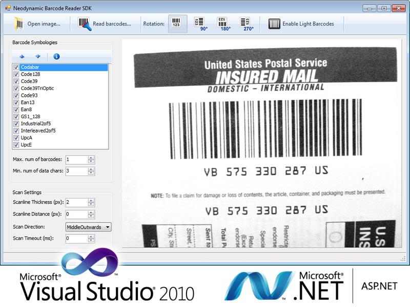 Barcode Reader SDK for .NET screenshot: Barcode, Reader, Decoder, Recognition, SDK, .net, windows forms, ASP.NET, C#, VB, visual studio, Code 39, Code 128, EAN 13, UPC, GS1-128, ITF, Interleaved