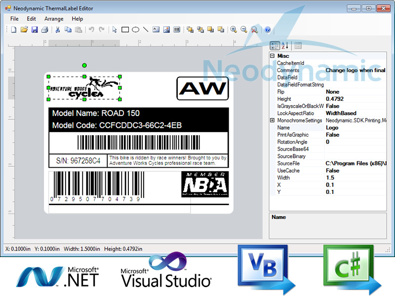 Free download ThermalLabel Visual Editor for .NET