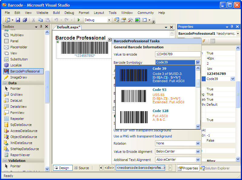 Linear and 2D barcode images for ASP.NET.