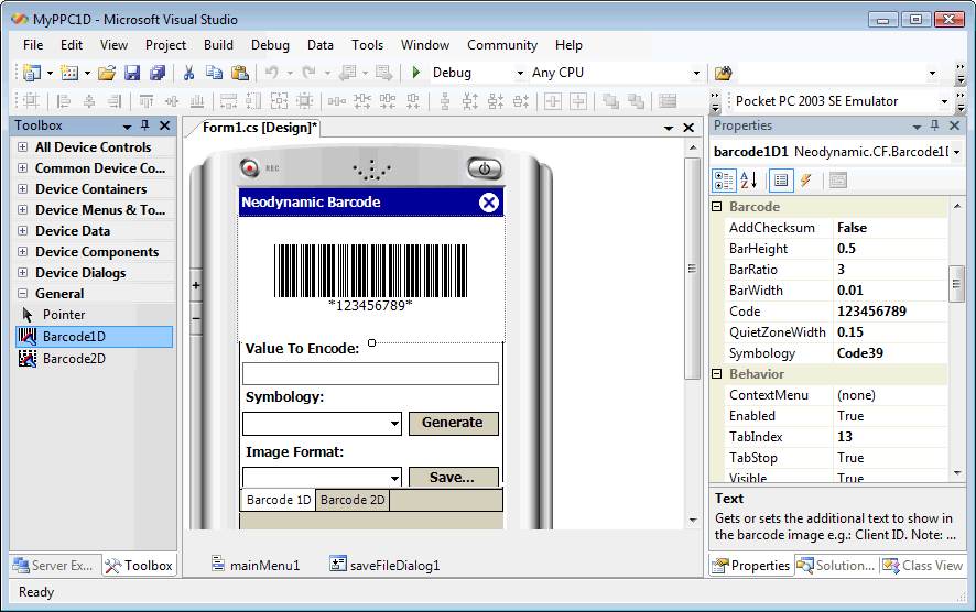 Click to view Barcode Professional for .NET Compact Framework 2.0 screenshot