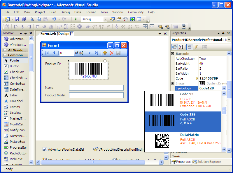 Windows Forms, .Net, barcode, neodynamic, library, component, Codabar, Code 11,