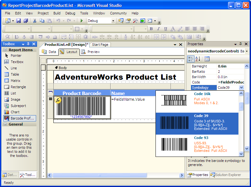 Click to view MS SQL Reporting Services Barcode .NET 7.0 screenshot