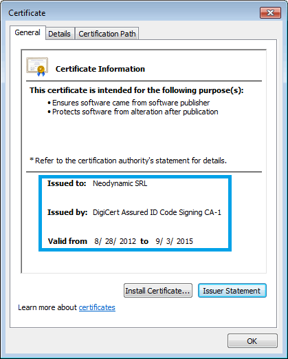 Neodynamic's Code Signing Certificate