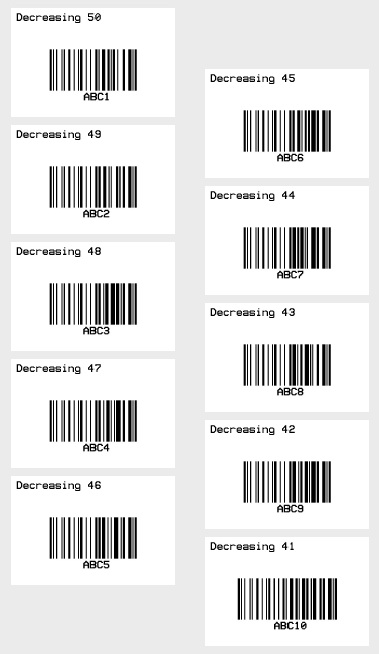 How to print a set of barcode labels in batch using counter with