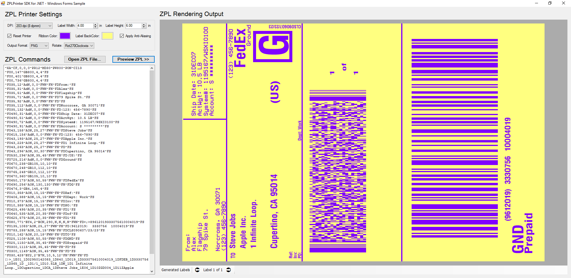 ZPL Printer Emulator SDK for Windows Forms - Colored Label Simulation