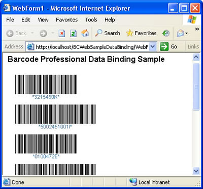 Barcode Professional Data Binding Sample