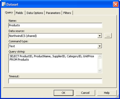 Reporting Services - DataSet dialog box