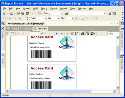 Reporting Services - Access Card Preview