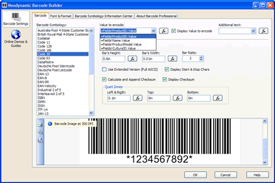Barcode Professional 3.0/4.0 Property Editor (Barcode Builder)