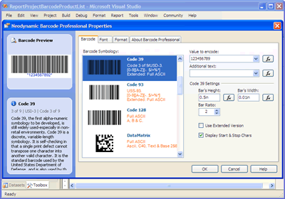 Barcode Professional 2.0 Property Editor