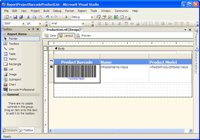 ReportProjectBarcodeProductList - Microsoft Visual Studio