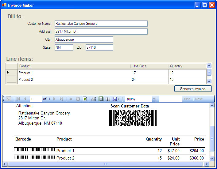 How To Use Barcode Professional In Visual Studio Local Report RDLC - Pdf invoice maker