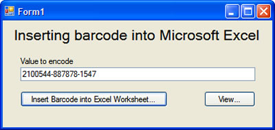 Inserting barcode into Microsoft Excel
