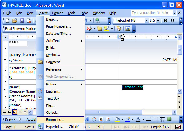 How to insert barcode images into a Microsoft Word document