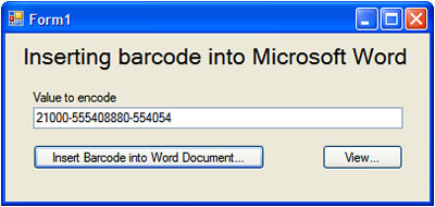 Inserting barcode into Microsoft Word