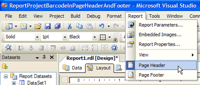 Display the Page Header and/or Page Footer on the Report Designer