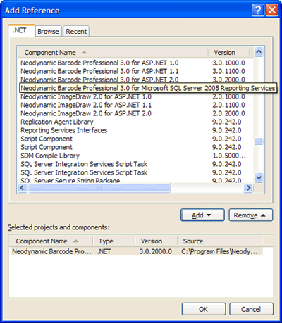 Adding a reference to Barcode Professional assembly