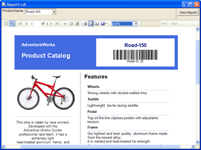 The barcode image in the Page Header section