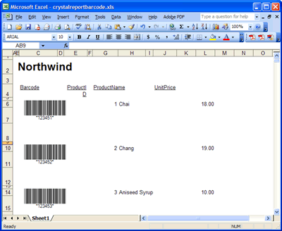 The Crystal Repor report in Microsoft Excel XLS format featuring barcodes generated by Barcode Professional