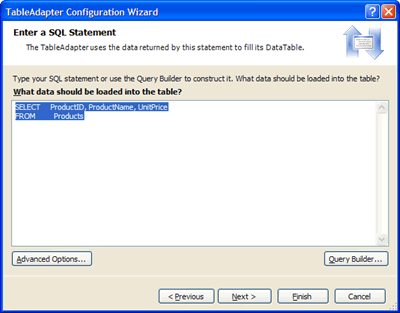 Specifying a SQL Statement that returns Northwind Product info