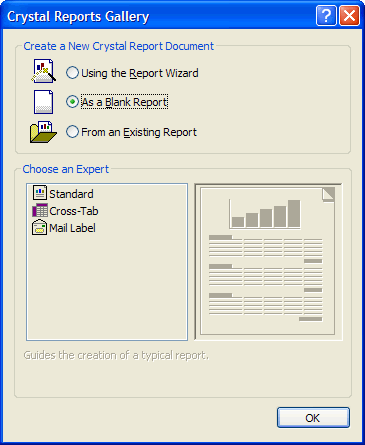 Creating a blank report