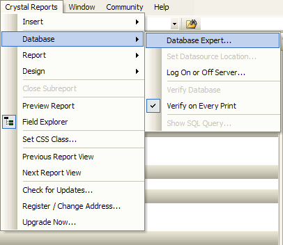 Opening Crystal Reports Database Expert dialog box