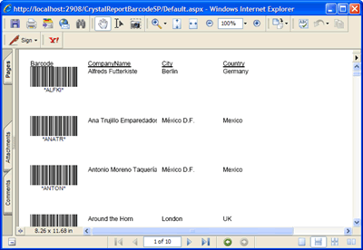 The Crystal Repor report in Acrobat PDF format featuring barcodes generated by Barcode Professional