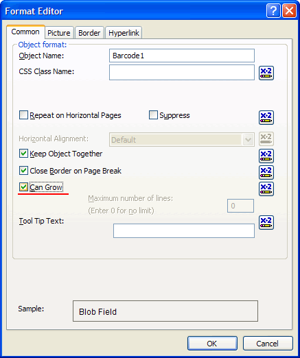 Setting up 'Can Grow' option for the Barcode item in the Format Editor dialog box