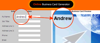 Business Card preview is updated while user types in the text boxes.