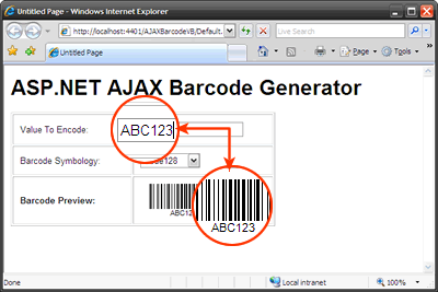 An ASP.NET AJAX Barcode Application sample. Barcode preview is updated while user types in the text boxes.