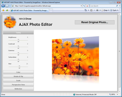 AJAX Photo Editor featuring ImageDraw effects such as Basic Tuning (Brightness, Contrast, Gamma, Saturation, Hue), Coloring (Convert to Black & White/Grayscale, Sepia and Negative/Invert), Rotation and Flipping, Scaling and FX Perspective View and Reflection.