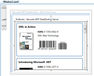 WPF Barcode DataBinding at design time in Visual Studio 2008