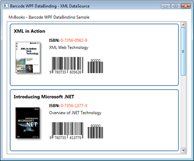 The WPF DataBinding sample featuring Barcodes