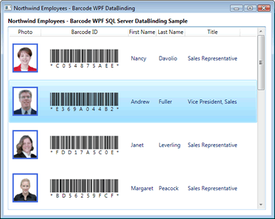 Barcode WPF DataBinding to SQL Server ADO.NET Source