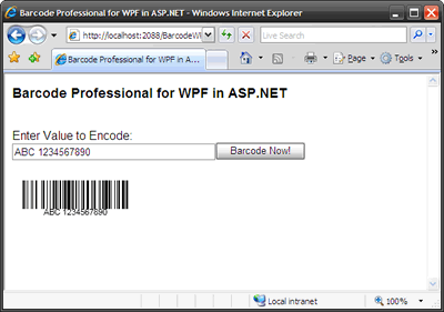 Barcode WPF in ASP.NET Web Applications (Internet Explorer Browser)