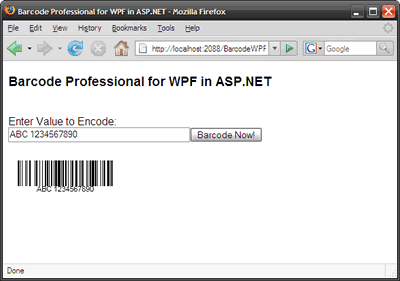 Barcode WPF in ASP.NET Web Applications (Mozilla Firefox Browser)