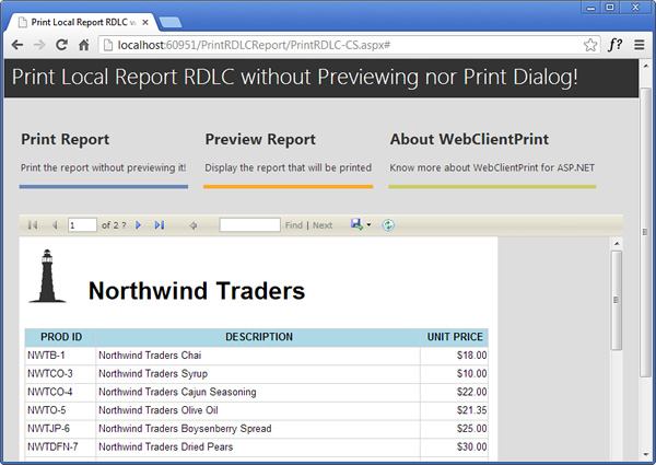 How to Print an ASP NET Local Report RDLC without Preview or