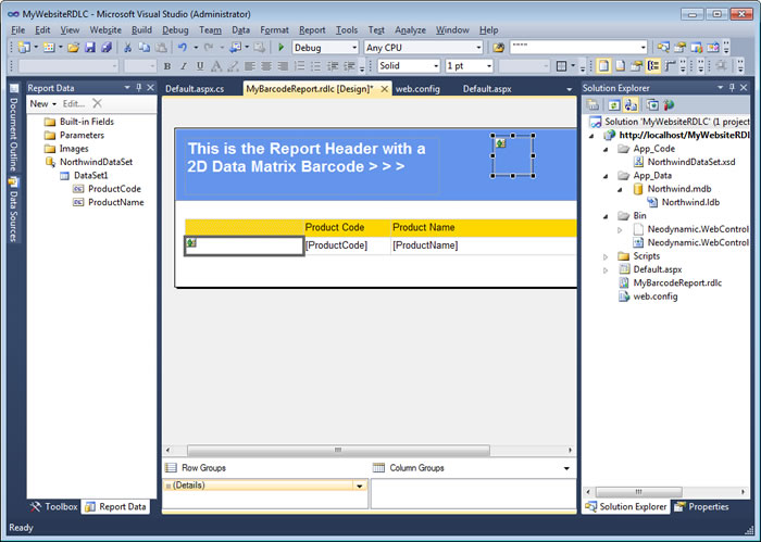 The Visual Studio IDE - The RDLC report with the Image controls for displaying the barcodes generated by using Codeless Barcode Generation feature.