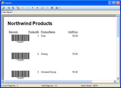 The Crystal Report featuring barcodes generated by Barcode Professional