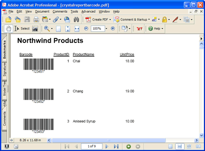 The Crystal Report report in Acrobat PDF format featuring barcodes generated by Barcode Professional