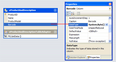 Setting up the Barcode Column to System.Byte[] data type