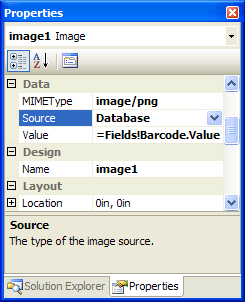 The Image item's properties. The Value property is bound to Barcode Column.