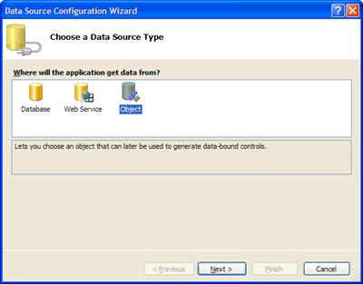 Selecting Object Data Source for the local report