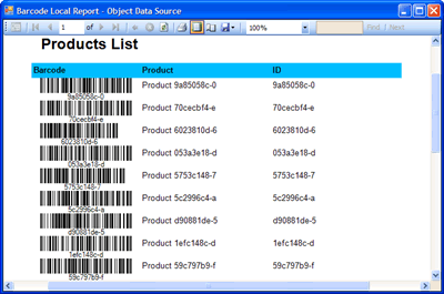 The local report featuring barcodes generated by Barcode Professional