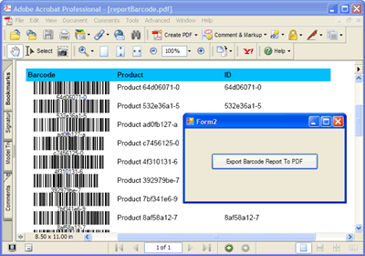 The local report featuring barcodes exported to PDF format without previewing it onto the Windows Form