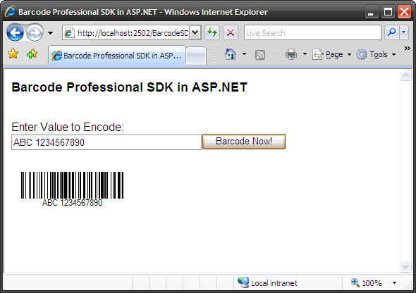 How To: Barcode Professional SDK in ASP NET Web Applications