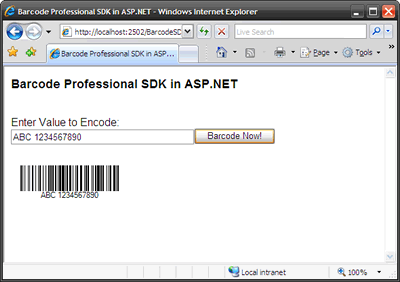 Barcode Professional SDK in ASP.NET Web Applications (Internet Explorer Browser)